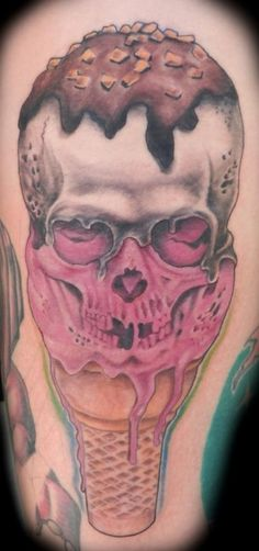 """Ice cream skull tattoo aka """"Cone Life"""" for the Ghirardelli gang! Lol @Melissa Squires Mariotti  @Sam Taylor Facey"""