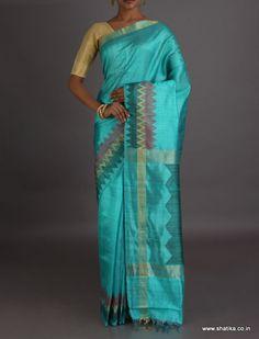 Aishwarya Sea Blue With Colourful Zig Zag Pattern #DupionSilkSaree