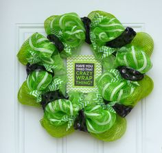 It works global deco mesh wreath. Green, black and bling. Perfect to hang on your hostesses door so guests can spot the house! Only $30 Have you tried that crazy wrap thing?