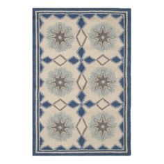 Eye-catching patterns in shades of blue, grey, and ivory make this micro-hooked wool rug an instant style star. Dimensions: 2' x 3'; 3' x 5'; 2.5' x 8'; 5' x 8'; 8' x 10' Materials:100% Wool Crafted by artisans committed to fair-labor practices. Due to the handmade quality of our rugs, they may vary slightly in size a