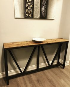 """This Console table is giving farmhouse a whole new meaning."" Check out the free plans for this farmhouse console table. A quick and easy project for the home entryway. Console table never looked so good. Diy Entryway Table, Diy Table, Diy Projects Plans, Diy Wood Projects, Diy Furniture Plans, Modern Furniture, Bedroom Furniture, Table Plans, Wooden Shelves"