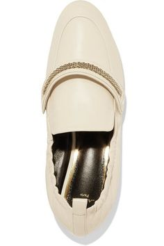 Lanvin - Chain-trimmed Leather Loafers - Neutral - IT38.5