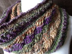 Loom Along Chic Retreat Cowl with crossed drop stitches