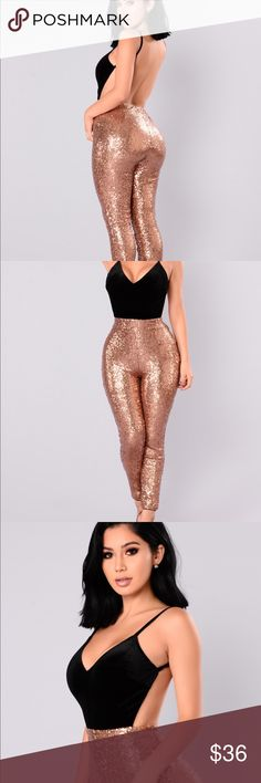 FASHION NOVA Azucar Sequined Jumpsuit SOLD OUT Gorgeous Fashion Nova copper sequined jumpsuit. Suede top, adjustable straps, open back. This item is sold out online!! I'm so disappointed that it didn't fit. Tags are attached. My loss is your gain!  Fashion Nova Pants Jumpsuits & Rompers