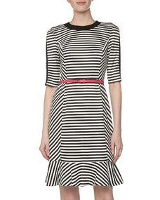 Three-Quarter-Sleeve Striped Flounce Dress