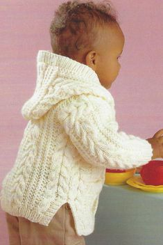 Baby Childrens Knitting Pattern Aran Cable Jackets Boys Girls for sale online Free Aran Knitting Patterns, Baby Cardigan Knitting Pattern Free, Baby Sweater Patterns, Knit Baby Sweaters, Knitted Baby Clothes, Baby Patterns, Knitted Baby Cardigan, Hoodie Pattern, Crochet Hoodie