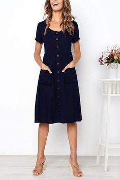 Frigirl Summer Dream V Neck Buttons Midi Dress