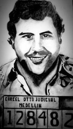 Retrato Pablo emilio escobar, carbonilla y grafito