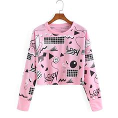 Graphic Print Crop Sweatshirt (49 SAR) ❤ liked on Polyvore featuring tops, hoodies, sweatshirts, sweaters, crops, pink, long sleeve crop top, pink top, graphic crop tops and cotton sweatshirts