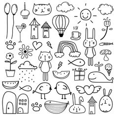 Hand Drawn Doodle Kids Clipart, Doodle Clipart For Kids, Doodle Art, Cat Clipart,Gift Box Doodle Sketch, Doodle Drawings, Cartoon Drawings, Easy Drawings, Simple Doodles Drawings, Simple Drawings For Kids, Doodle Box, Drawing For Kids, Hand Doodles
