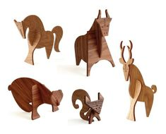 Beautiful wood animals from Peter Dunham and Linnea Gits - designers behind uusi.