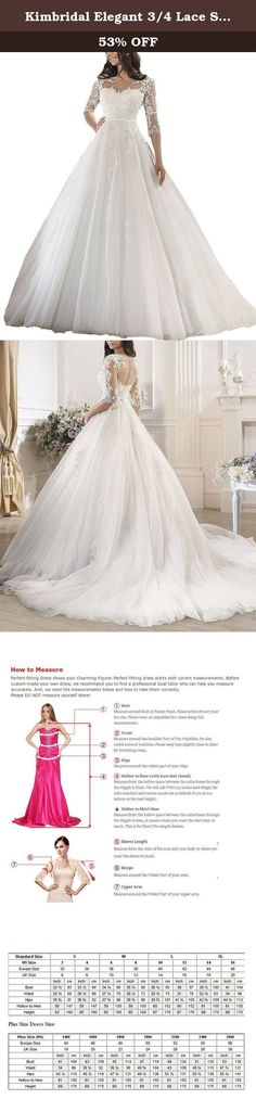 Kimbridal Elegant 3/4 Lace Sleeve Tulle Ball Gown Wedding Dresses for Bride 2016. We can customize the dress color and sizes for you .If you need this service ,please feel free to contact us before placing the order. Customized Dress: Custom made process (from the date we receive your payment and measurements) will take about 1-2 weeks.The the delivery time is about 7 days. the total time is about 20 days. If you can not sure your right size according our size chart, you can send us your...