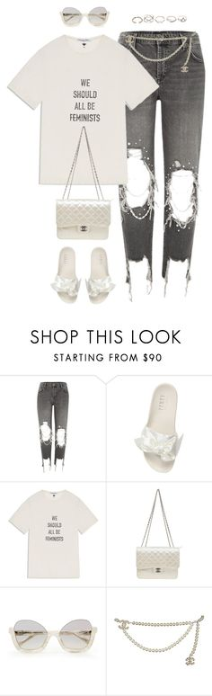 """Chanel x Fenty"" by styleswavington ❤ liked on Polyvore featuring River Island, Puma, Chanel, GUESS, ootd and StephStyles508"
