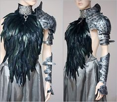 Medieval armor goes high fashion -- and looks fantastic with black feathers and silver shoulder armor and fabric Haute Couture Style, Look Fashion, High Fashion, Womens Fashion, Fashion Design, Modest Fashion, Costume Original, Leather Armor, Feather Dress