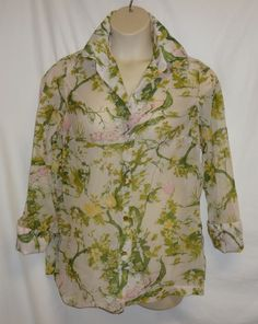 """VTG 60's 70's Sheer Ample Togs  44"""" XL 1x Shirt Top Birds Peacocks Trees Mod   #Unbranded"""