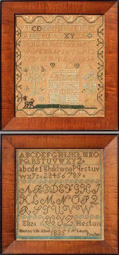 Two Heston Family Samplers, Philadelphia, Pennsylvania,1804 and 1831