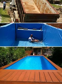 7 DIY Swimming Pool Ideas and Designs: From Big Builds to Weekend Projects - #1 The dumpster pool - DIY above ground swimming pool