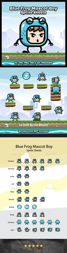 Blue Frog Mascot Boy Game Character Sprite Sheets (Sprites)