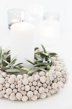DIY - TUTORIAL - wooden ball wreath or candle ring