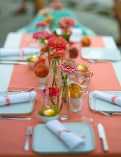 runners on white table clothes - maybe use both wedding colors for brightness that is not overwhelming?
