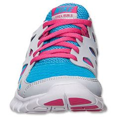 7190624e6006 Girls Grade School Nike Free 2.0 Running Shoes Vivid Blue Vivid Pink Pure  Platinum  Sneakers