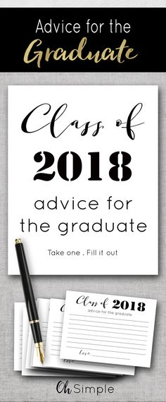 Advice for the graduate instant download printable cards are the perfect addition to any graduation party or graduation celebration.  Have your guest each write a message to the graduate.  Includes printable advice cards and either 5x7 or 8x10 framable printable sign.  Great to add to any graduation party decorations.  Affordable printables or free with the purchase of all graduation invitation, graduation party invitation or graduation announcement from Oh Simple on Etsy.