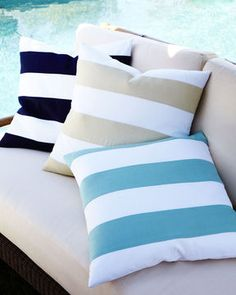 Indoor/outdoor striped pillows