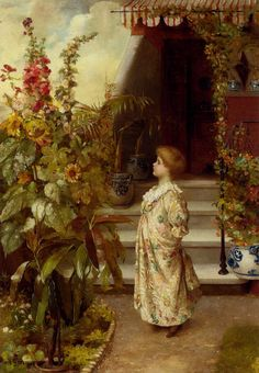 The Little Flowergirl by Maude Goodman, Oil on canvas