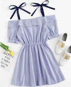 romwe Open Shoulder Striped Dress,S Kpop Outfits, Dress Outfits, Casual Dresses, Girl Outfits, Cute Outfits, Fashion Outfits, Summer Outfits, Summer Dresses, Frack