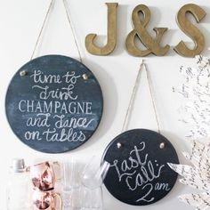 Add a little more life to your party with these hanging chalkboard signs!