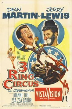 Zsa Zsa Gabor, Jerry Lewis, Dean Martin, and Joanne Dru in 3 Ring Circus Old Movies, Vintage Movies, Great Movies, Famous Movies, Funny Movies, Horror Movies, Jerry Lewis, Old Movie Posters, Movie Poster Art