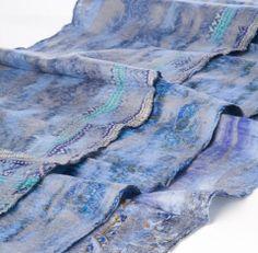 Blue and Gray Sari Scarf