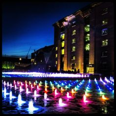 Beautiful Art+Design school space. Fountains outside the University of the Arts, Granary Square, London