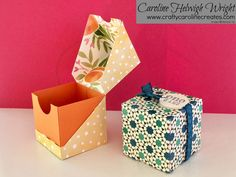 Diagonal Opening Gift Box - Video Tutorial with Stampin' Up Products. Diagonal Opening Gift Box - Video Tutorial with Stampin' Up Products. Diy Gift Box, Diy Box, Diy Gifts, Box Video, 3d Templates, Large Gift Boxes, Explosion Box, Craft Box, Envelopes