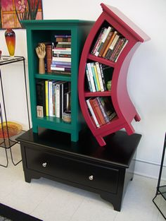 Wacky crooked abstract funky bookcase like you would see for Cheap funky furniture