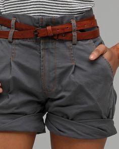 cargo shorts and leather belt