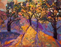 This is an original oil painting on board, by California impressionist Erin Hanson. The loose, expressive brush strokes capture the crystal light