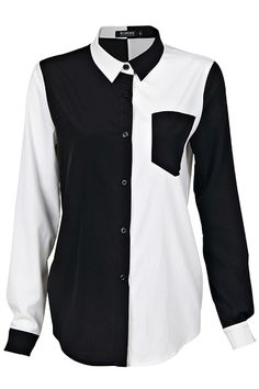 Black and White Symmetric Shirt. Description Black and white shirt, featuring one black pocket on the left chest, long black and white sleeves, dual-tone collar.  Fabric Polyester. Washing 40 degree machine wash , low iron. #Romwe