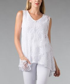 Another great find on #zulily! White Lace Sleeveless Hi-Low Top by Vasna #zulilyfinds