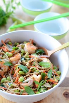 Spicy Peanut Noodles with Edameme and Shrimp #food asian #seafood