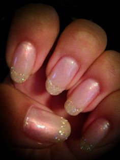 CND shellac nails with glitter