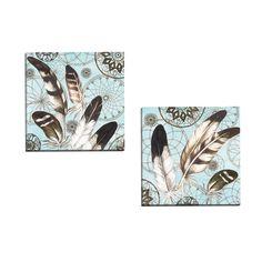 Portfolio Decor 'Eagle Feathers Square 1 on ' Elena Vladykina 16-inch x 16-inch Wrapped Wall Art