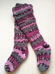 My new crochet knee-high socks Knee High Socks, Slippers, Crochet, Fashion, Moda, Fashion Styles, Chrochet, Slipper, Fasion
