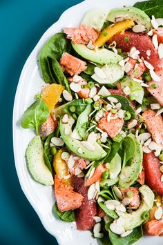 Orange Avocado Salmon Salad - a salad that is heart healthy - contains ...
