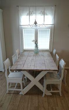 Maalaiskoti Myllyhaassa : Itse tehty ruokapöytä vanhoista lankuista