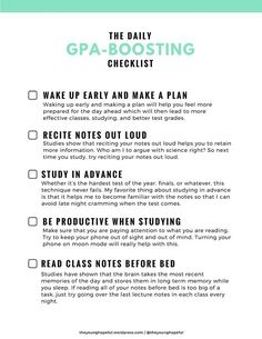 GPA Boosting Checklist.  I would like to see the overall GPA of the chapter increase over the next years.  I would like to learn what helps members of our chapter study and what can we do to improve grades.