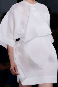 White dress with folded fabric panel stitched into the neckline; No. 21 SS13