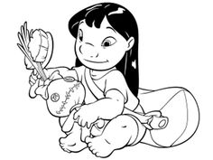 Lilo is Brushing Her Doll coloring page from Lilo & Stitch category. Select from 26202 printable crafts of cartoons, nature, animals, Bible and many more. Stitch Coloring Pages, Nemo Coloring Pages, Fish Coloring Page, Cartoon Coloring Pages, Disney Coloring Pages, Free Printable Coloring Pages, Coloring Book Pages, Coloring Pages For Kids, Lilo Y Stitch Dibujo