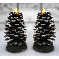 Christmas Lodge Decor - Set of 2 Actual Pinecones LED Flameless Candles - Real Christmas Pine Cones * You can get additional details at the image link. (This is an affiliate link and I receive a commission for the sales) Rustic Candles, Rustic Candle Holders, Flameless Candles, Candle Set, Christmas Lodge, Christmas Pine Cones, Christmas Candles, Woodland Christmas, Christmas Deals