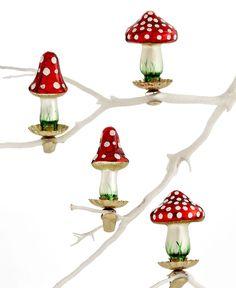 Martha Stewart Collection Christmas Ornaments, Box of 4 Mushroom - All Christmas Ornaments - Holiday Lane - Macy's